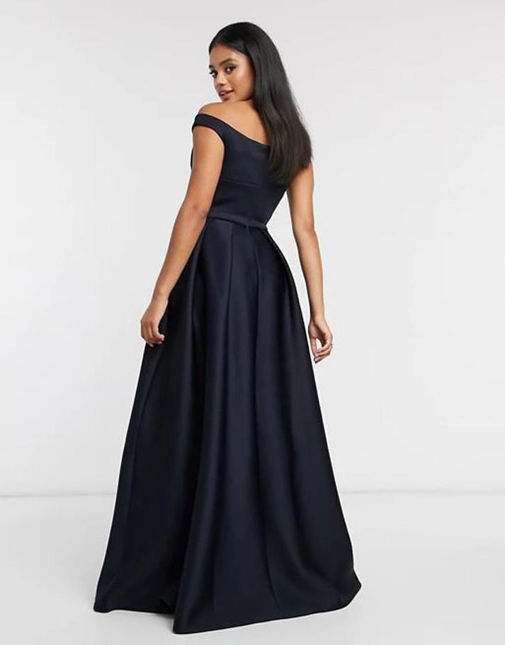 True Violet Black Label bardot prom maxi dress with pockets in navy