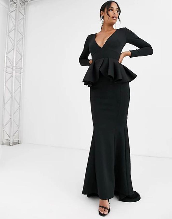 True Violet Black Label long sleeve plunge maxi dress with peplum in black
