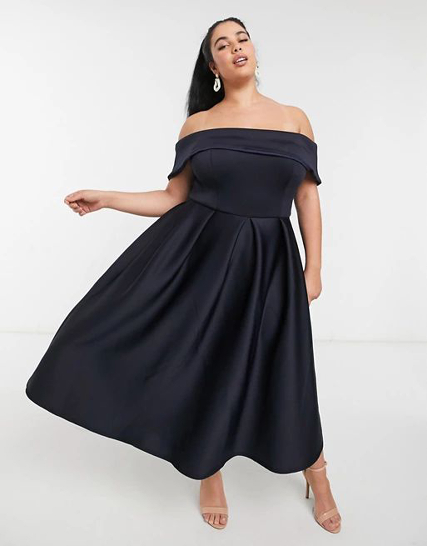 True Violet Plus folded bardot prom midi dress with pockets in navy