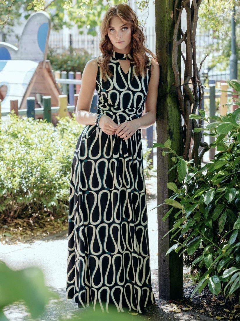 Turtleneck Jersey Print Maxi Dress Black Pattern