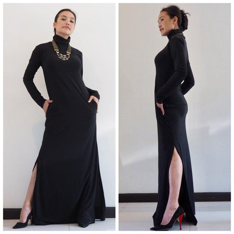 Turtleneck dress,Maxi dress,Long dress,Long sleeve dress,Black Dress all size