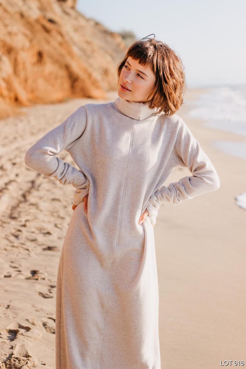Turtleneck maxi dress Oversized dress Thumbhole sleeves in cream