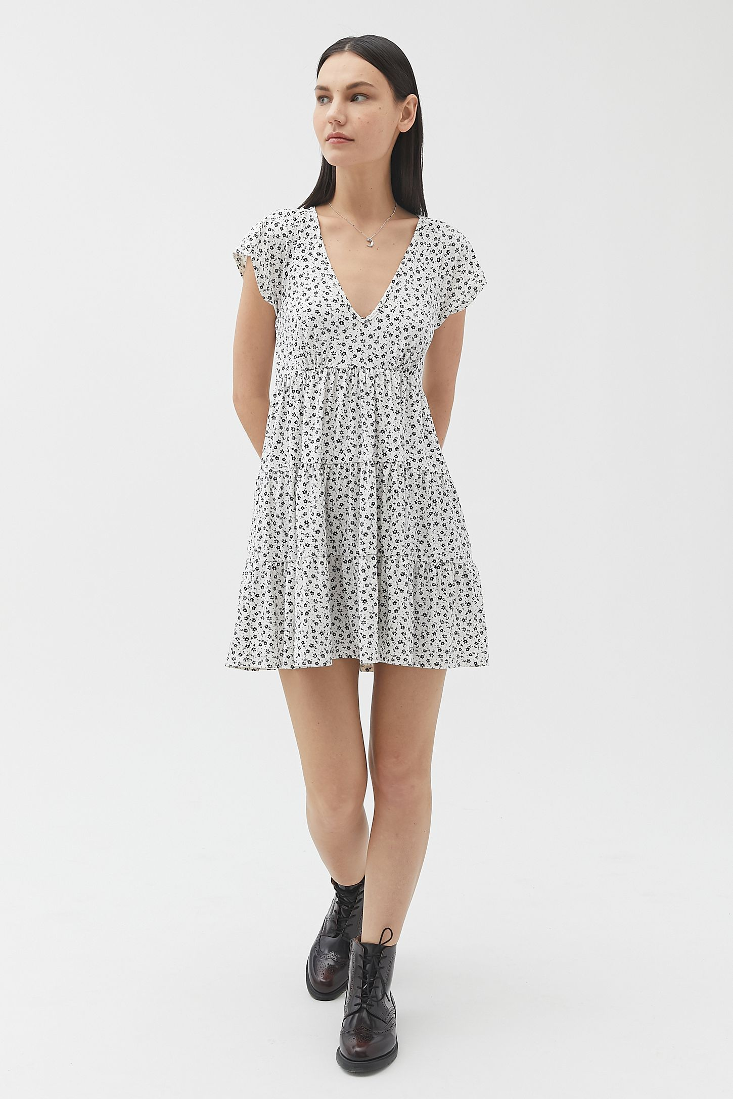 UO Julia Tiered Ruffle Mini Dress