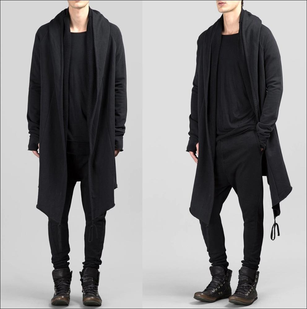 Mens Long Black Cardigan sweater
