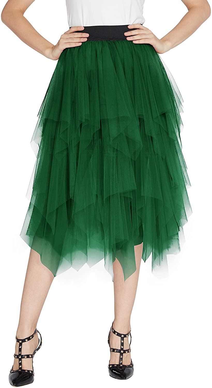 Urban GoCo Women's Mesh Layered Pleated Tulle Skirt