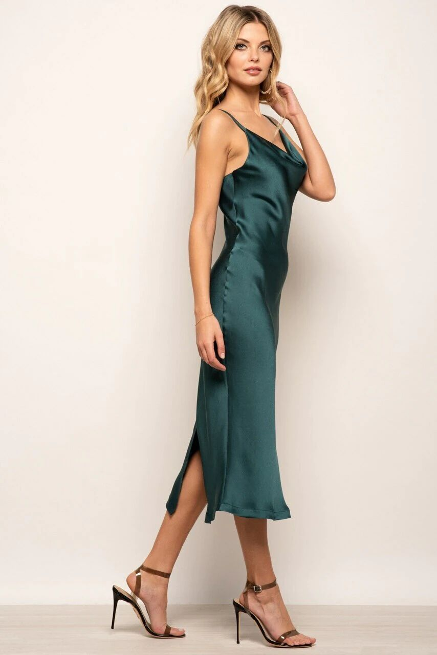 Urban Touch Green Cowl Neck Satin Slip Midi Dress