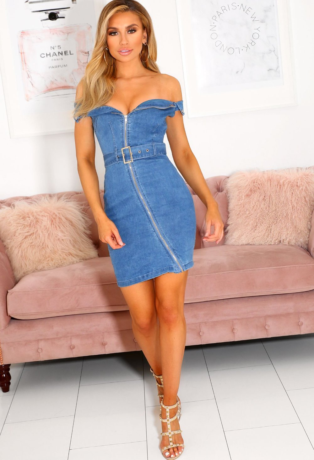 Varsity Off The Shoulder Belted Denim Mini Dress