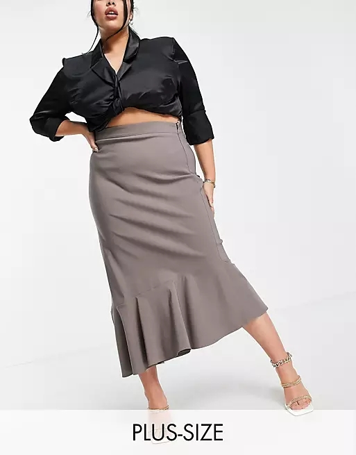 Vesper Plus asymetric maxi skirt co-ord in brown