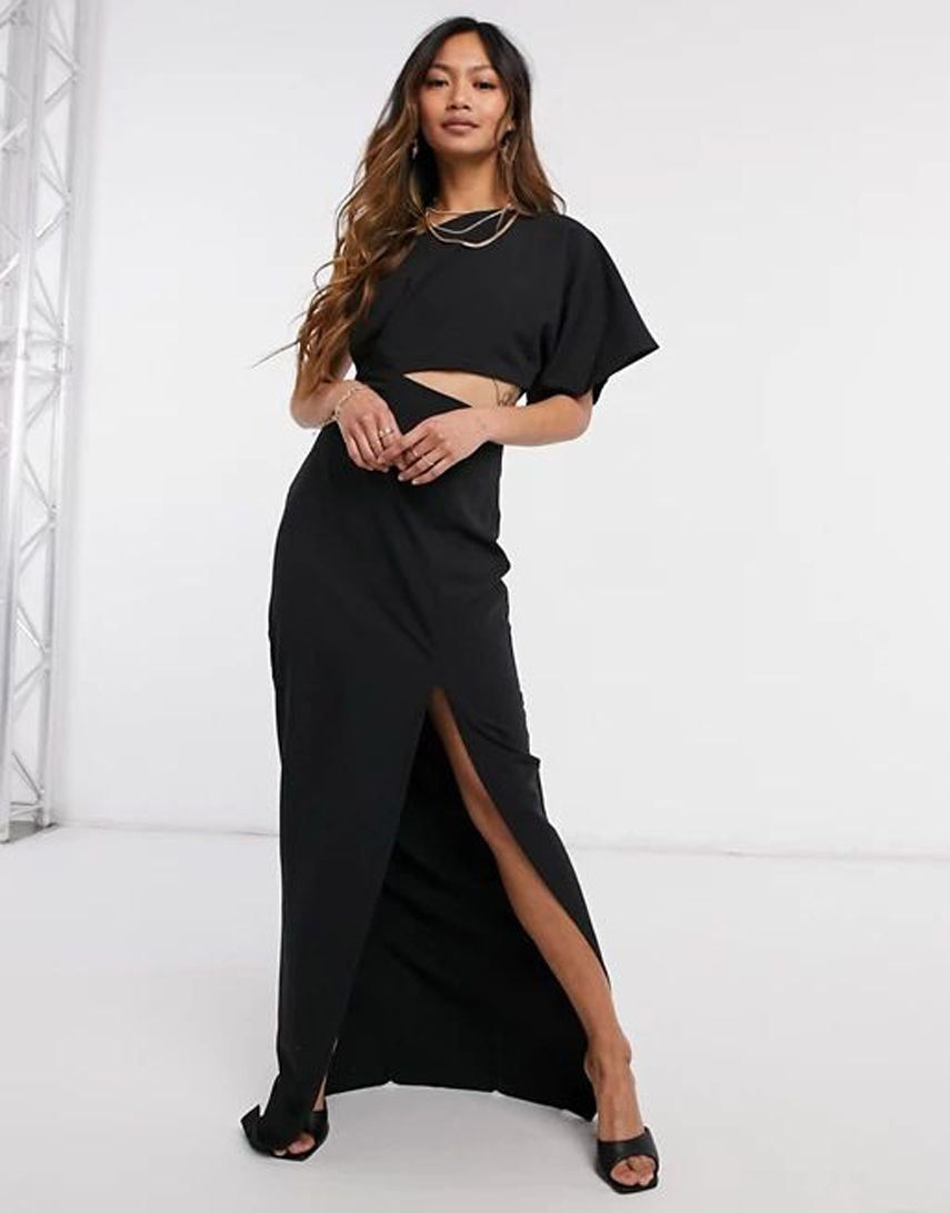 Vesper on shoulder maxi dress with cut-out detail and side split in black