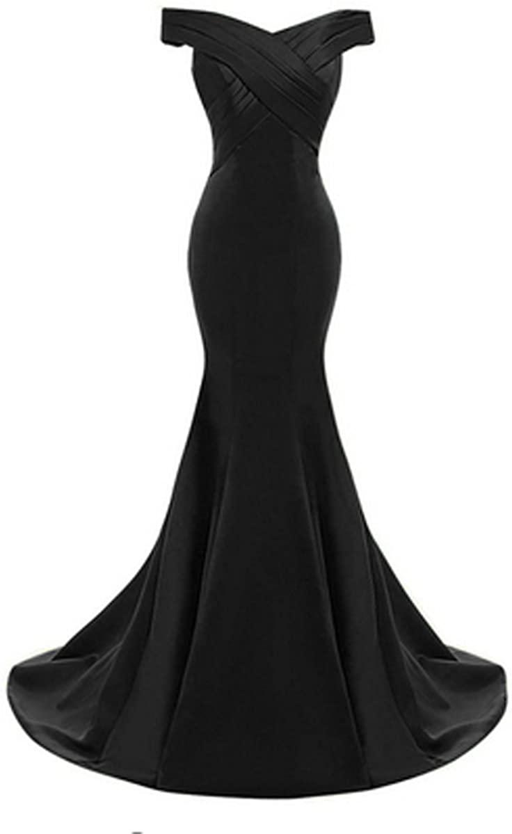 Vickyben Women's Vintage Off Shoulder Ruffles Mermaid Evening Dress