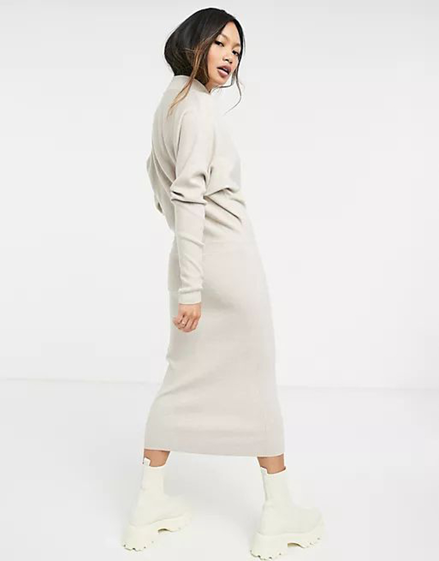 Vila knitted midi dress with high neck and long sleeves in cream