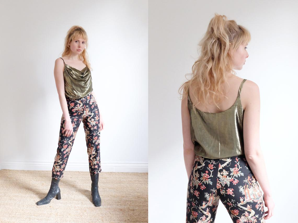 Vintage 90s Patterned Silk Trousers W26