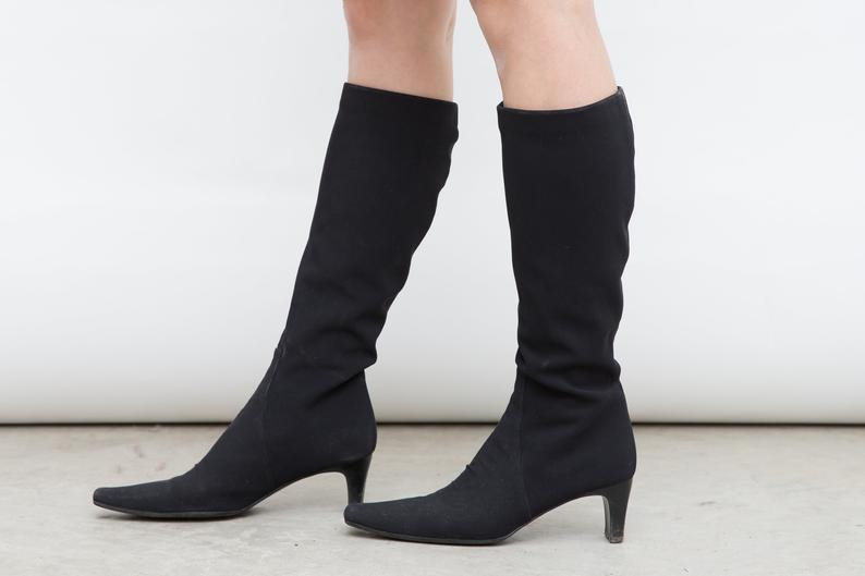 Vintage Black Sock Boots, Jaime Mascaro Boots, Size 38 Shoes, Black Heeled Boots, Autumn Tall Boots, 1990s Small Heel