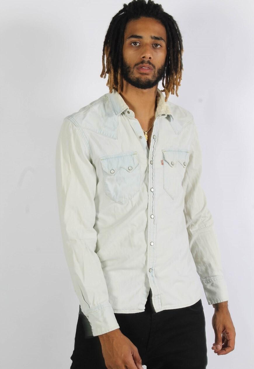 Vintage Levis Acid Wash Denim Shirt White