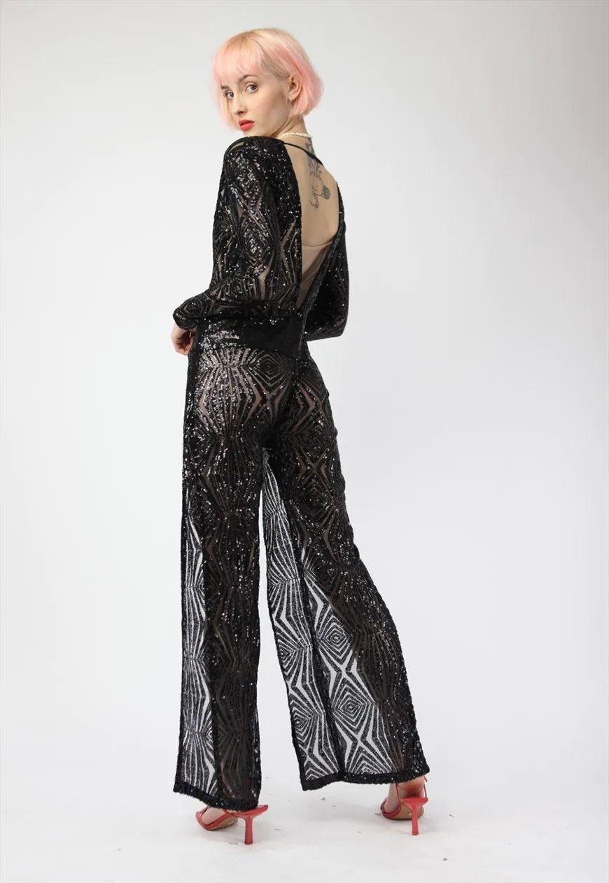 Vintage Sequins Jumpsuit in Black