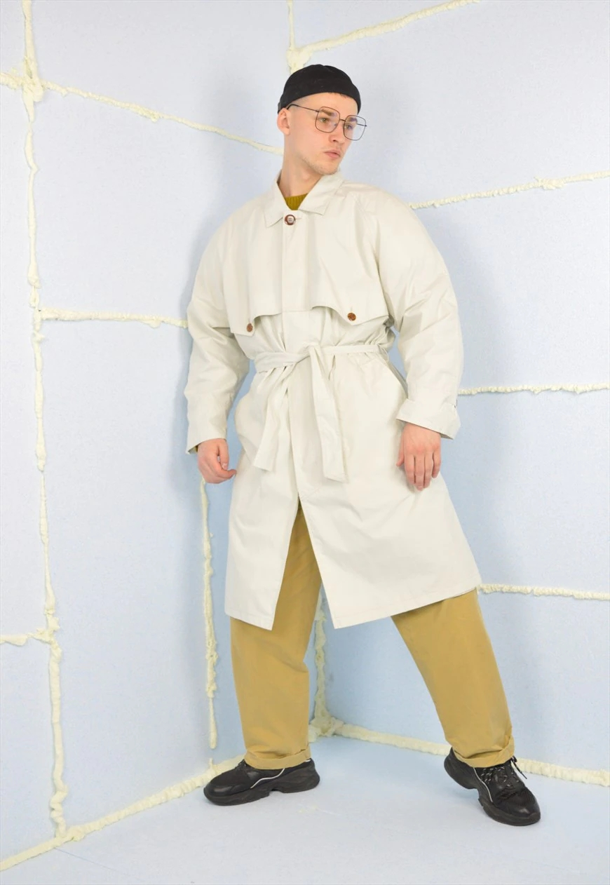 Vintage white classic 80's trench coat
