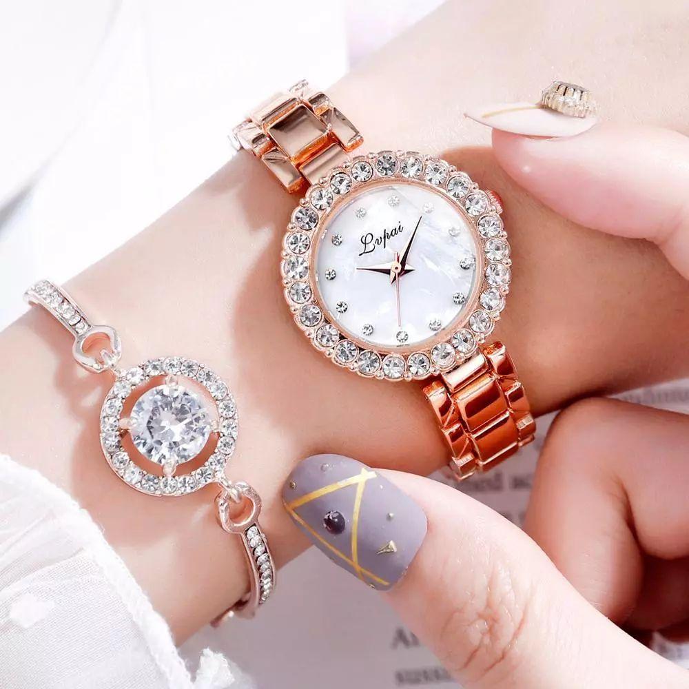 WATCH & BRACELET Women Ladies Girls Stainless Steel Analog Quartz Wrist Watch