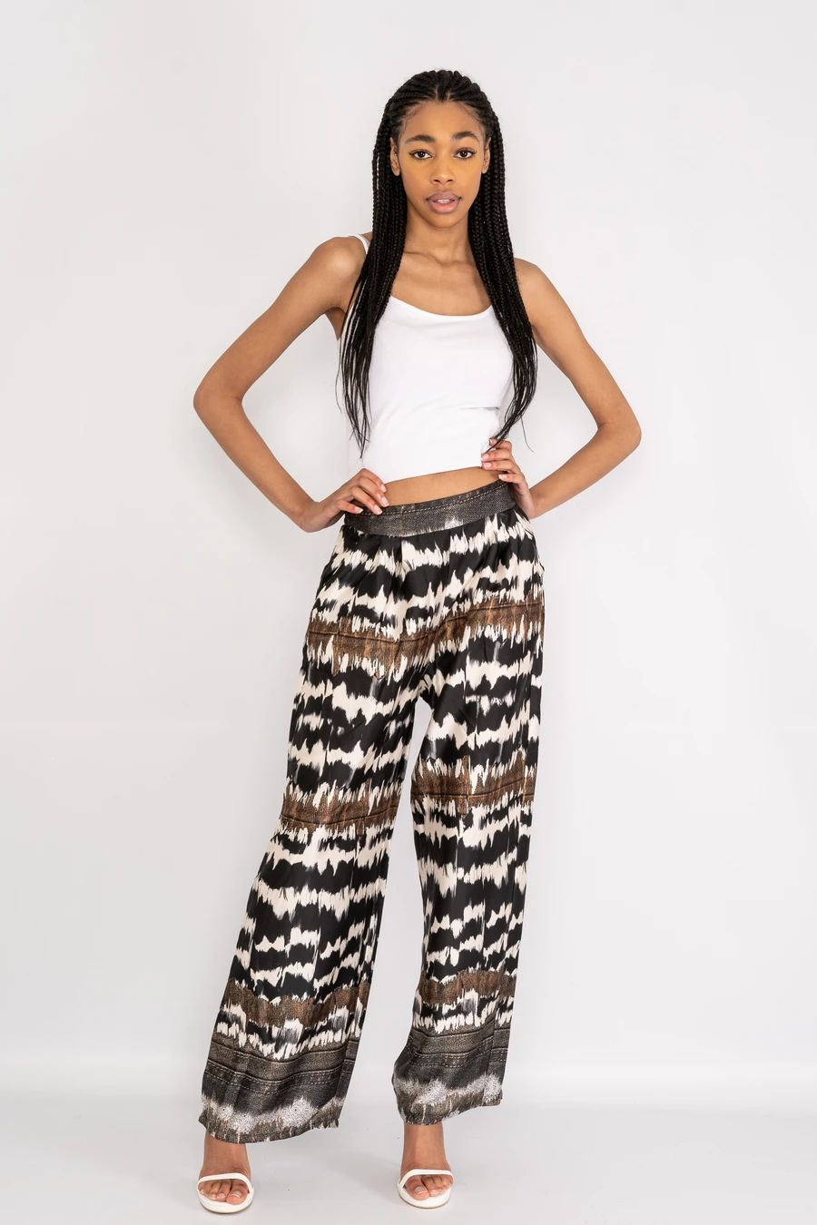 Waves patterned wide leg trousers