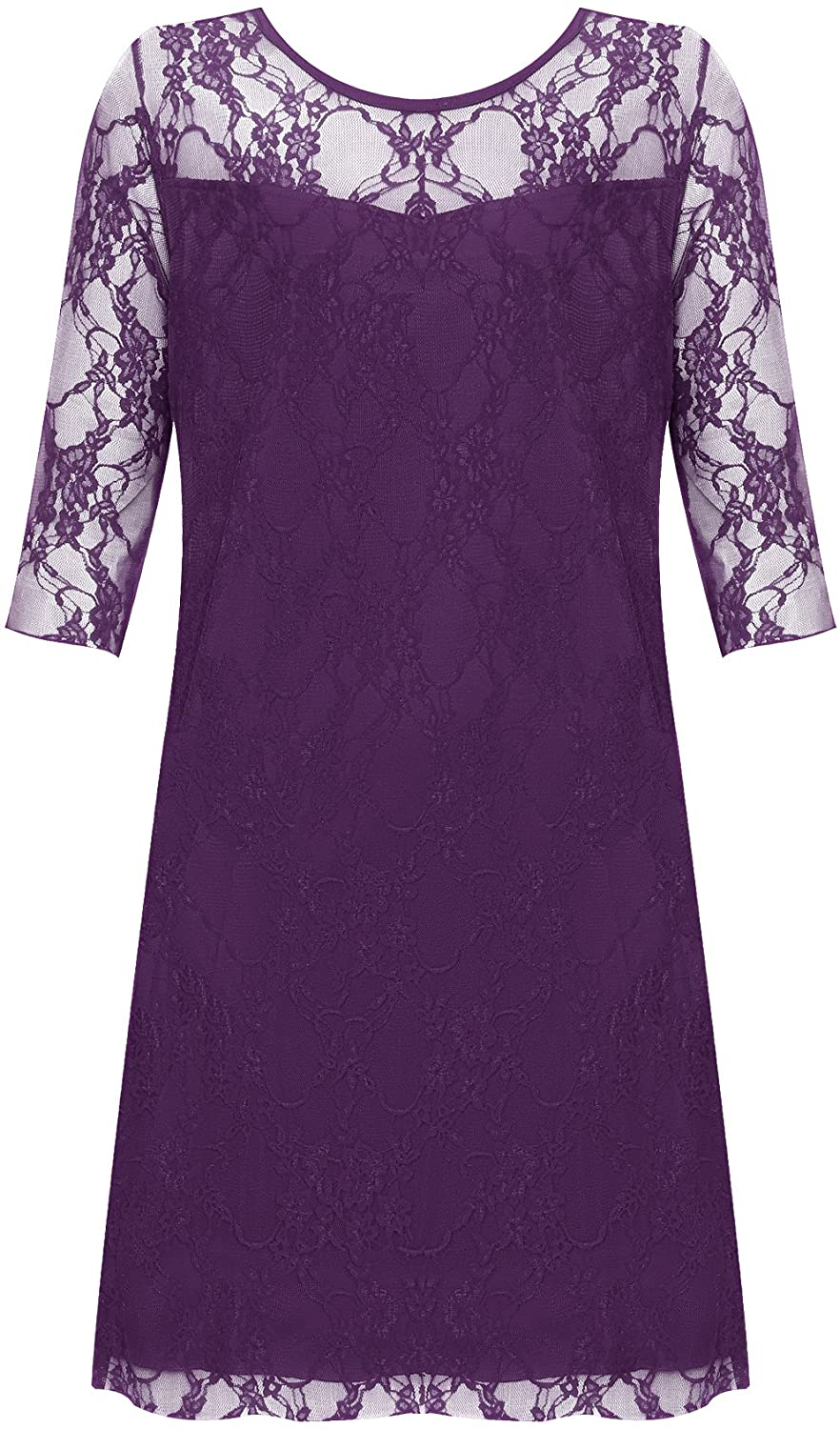 WearAll New Ladies Lace Lined 3/4 Sleeve Plus Size Womens Knee Length Stretch Dress