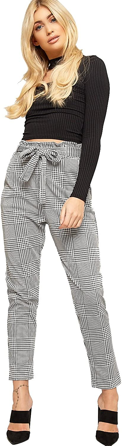 WearAll Women's Paperbag Tartan Checked Print Pocket Stretch Pants Ladies Belted Trousers 6-14