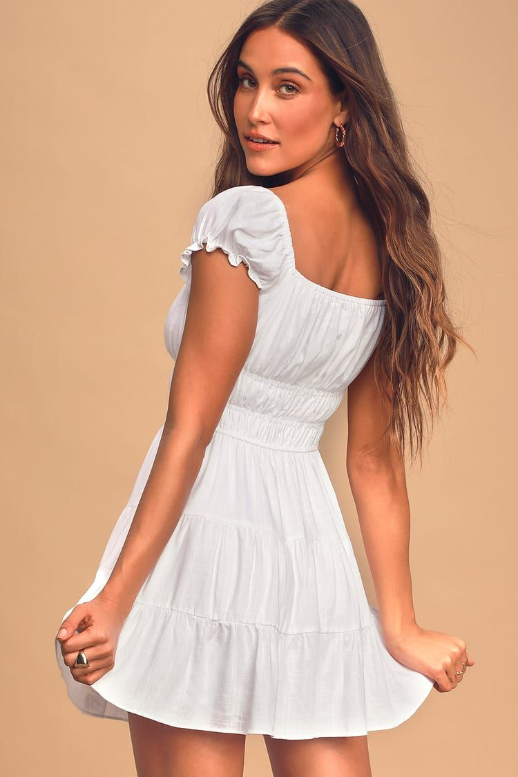 White Cap Sleeve Tiered Mini Dress