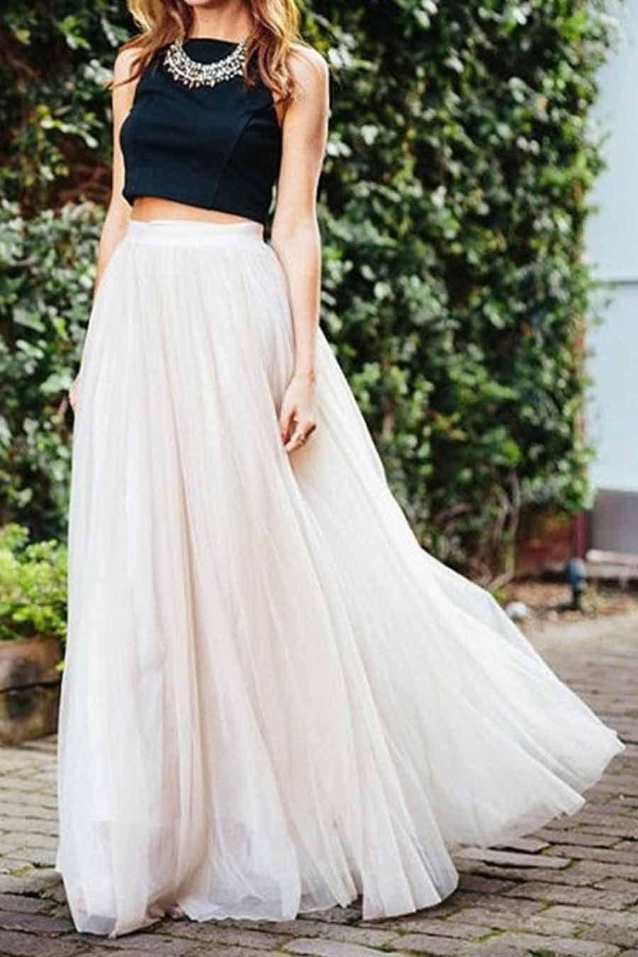 White High Waist Mesh Maxi Bubble Skirt