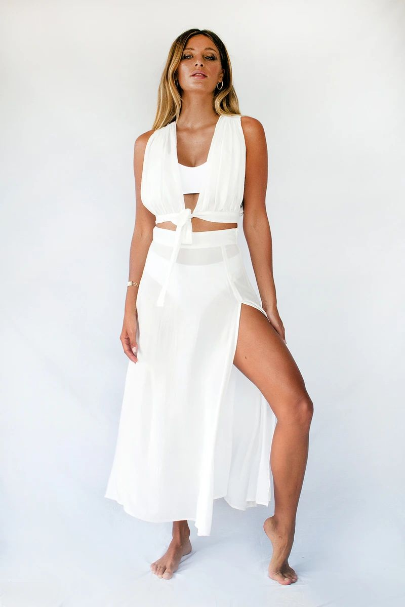 White Maxi Skirt With Slits