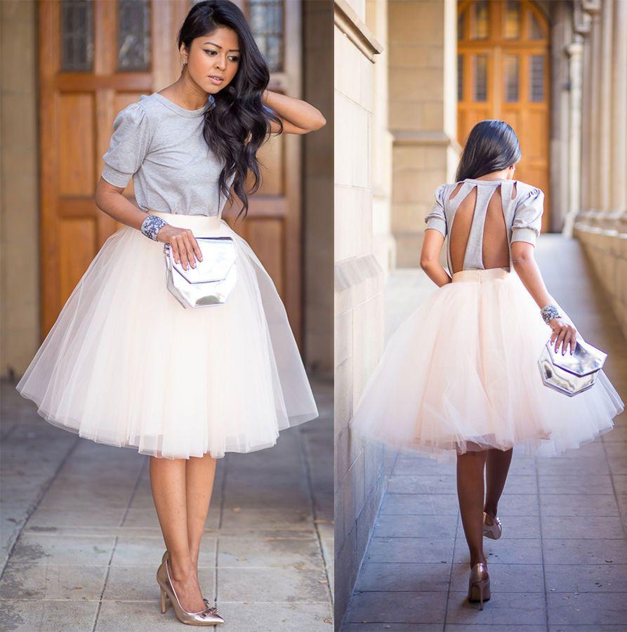 White Tulle Ballet Pleated Circle a Line Flare Full Knee Length Skirt