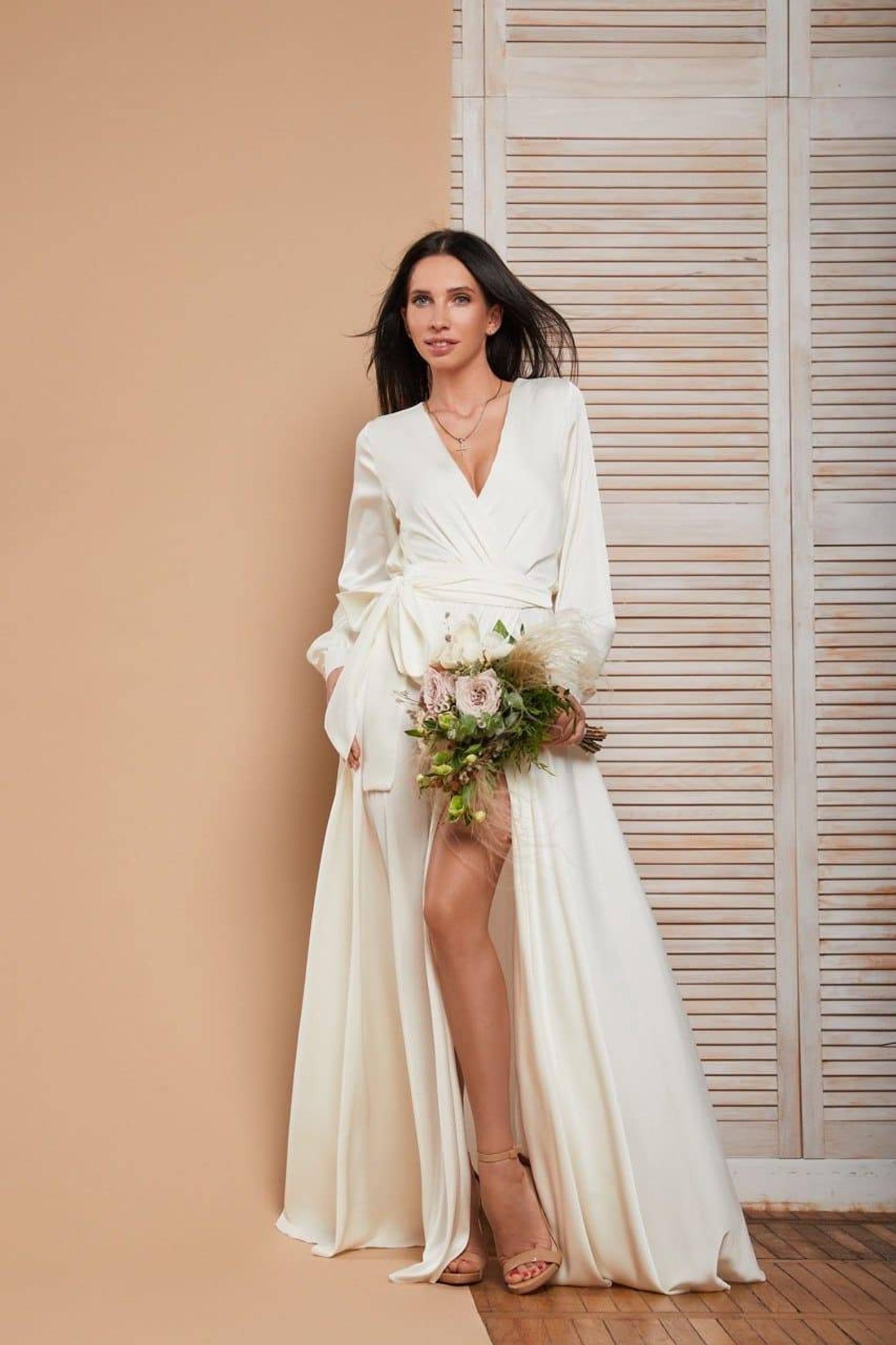 White maxi wrap dress