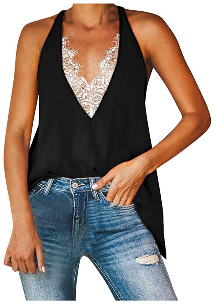 Whycat Lace V Plunge Tank Tops