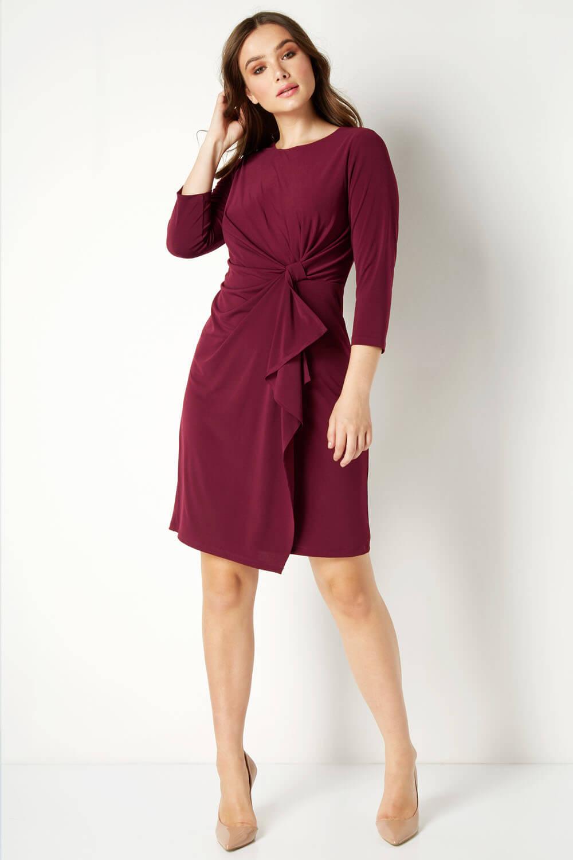 Wine Twist Front Detail Dress