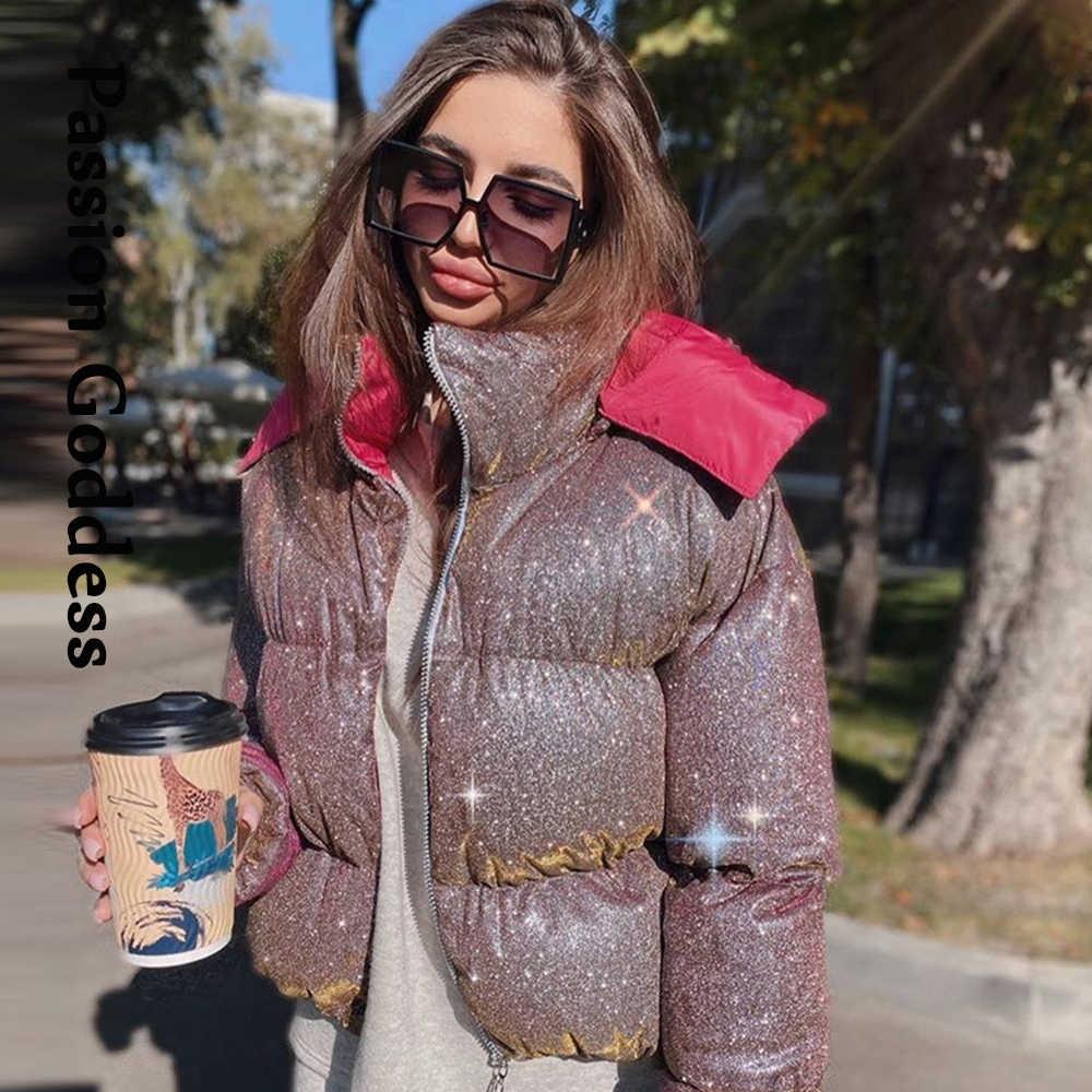 shiny cropped puffer jacket