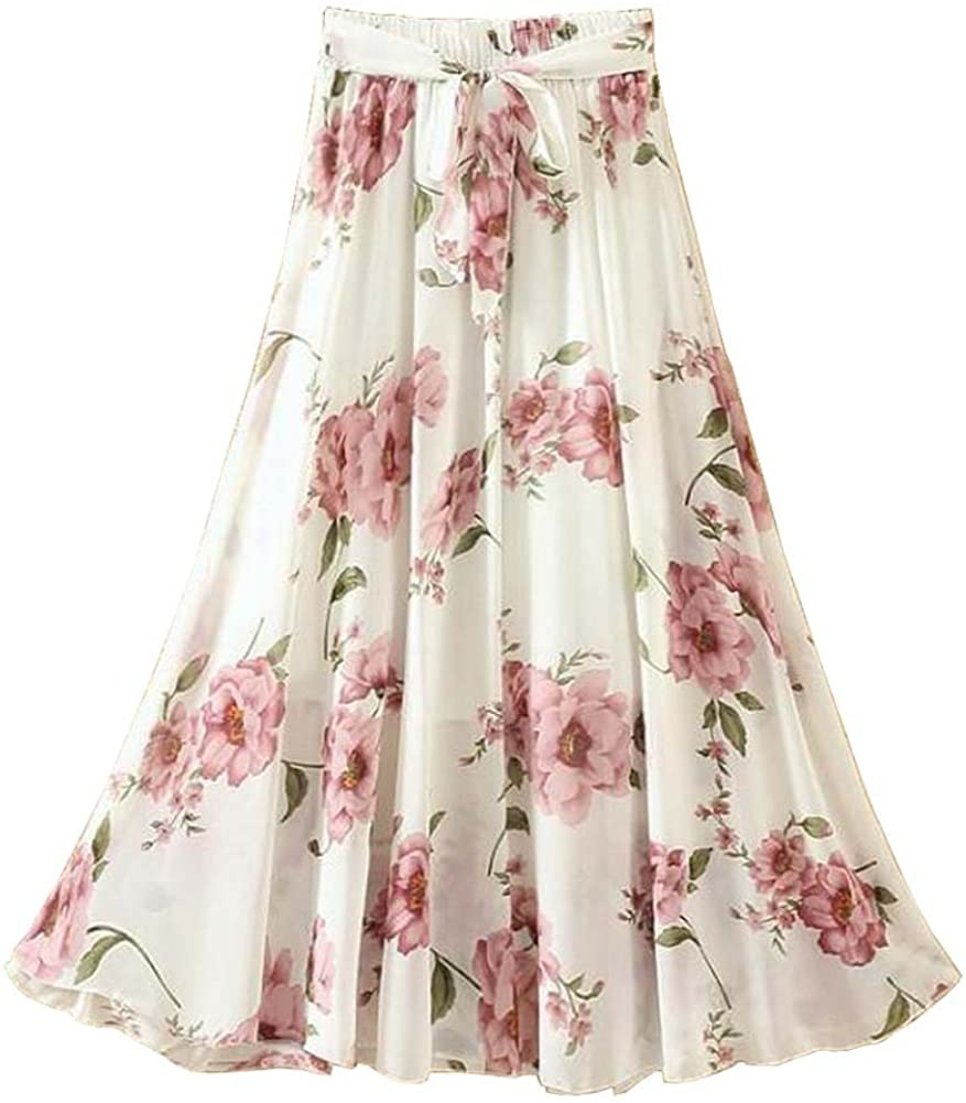 Women Elastic Waist Chiffon Skirt