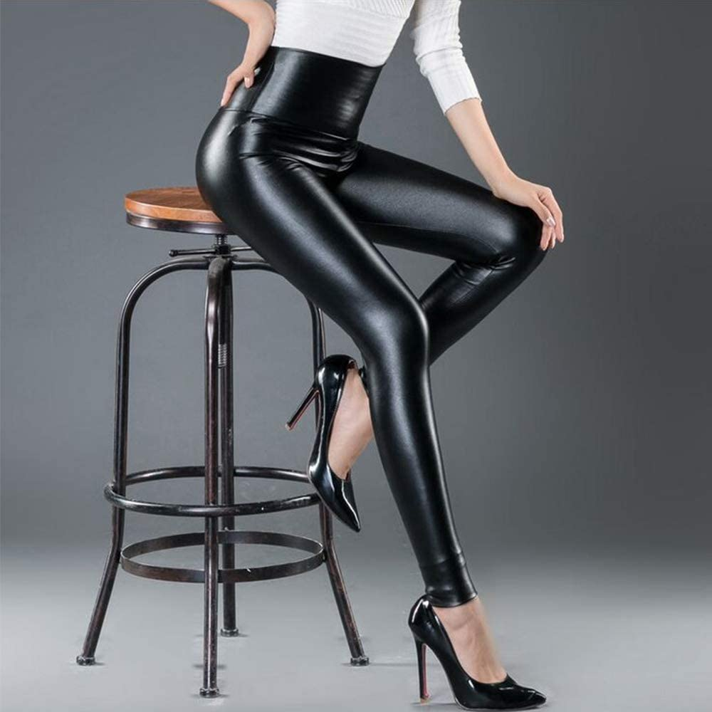 Women High Waisted Faux PU Leather Leggings Stretchy Slim Fit Trousers