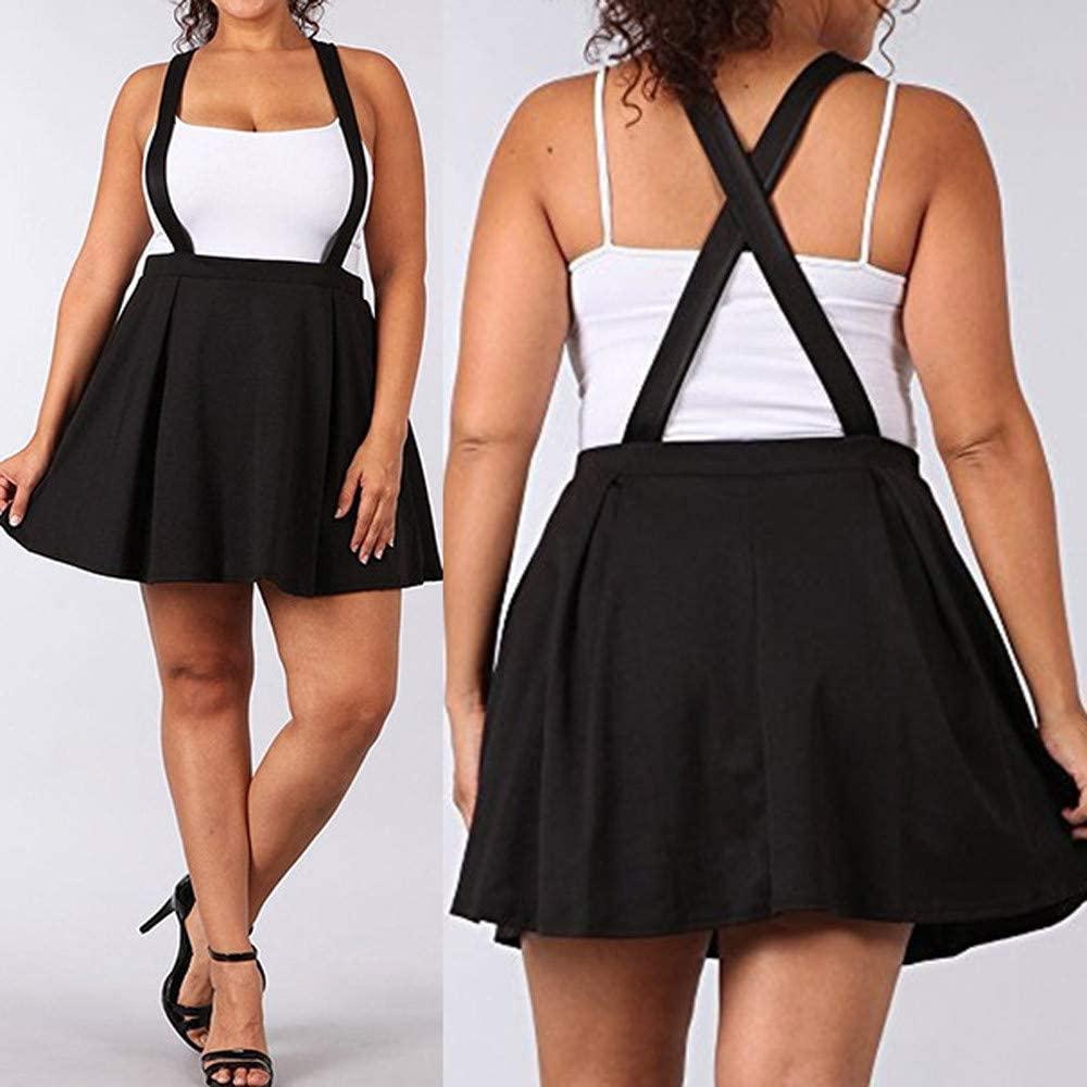 Women's Casual Suspender Skirts Basic High Waist Flared Skater Skirt, Women Black Plus Size S-5XL Loose Strap Pure Color Short Mini Skirt