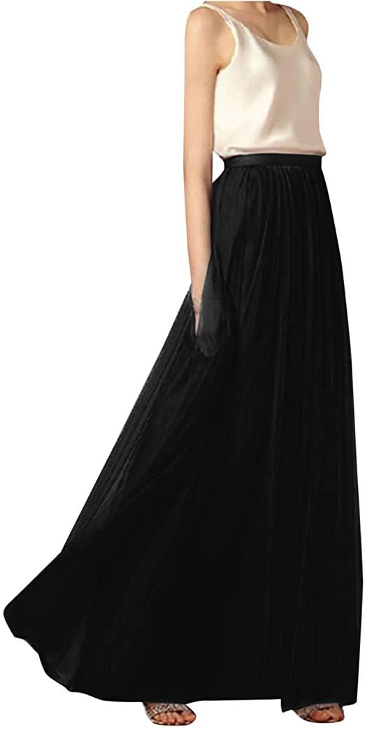 Womens Floor Length A-line Tulle Skirts