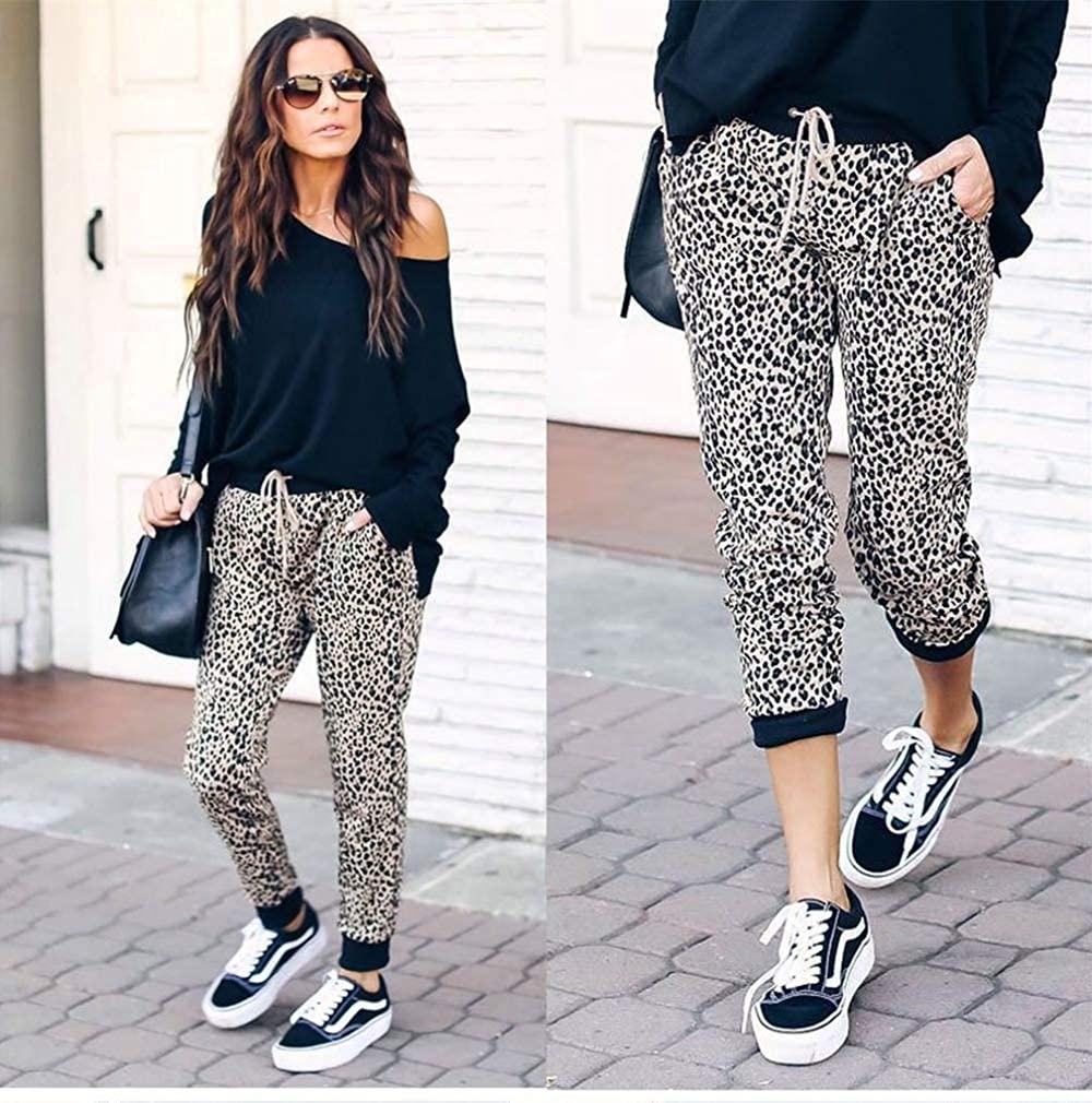 Womens Jog Pants Leopard Print High Waist Drawstring Joggers
