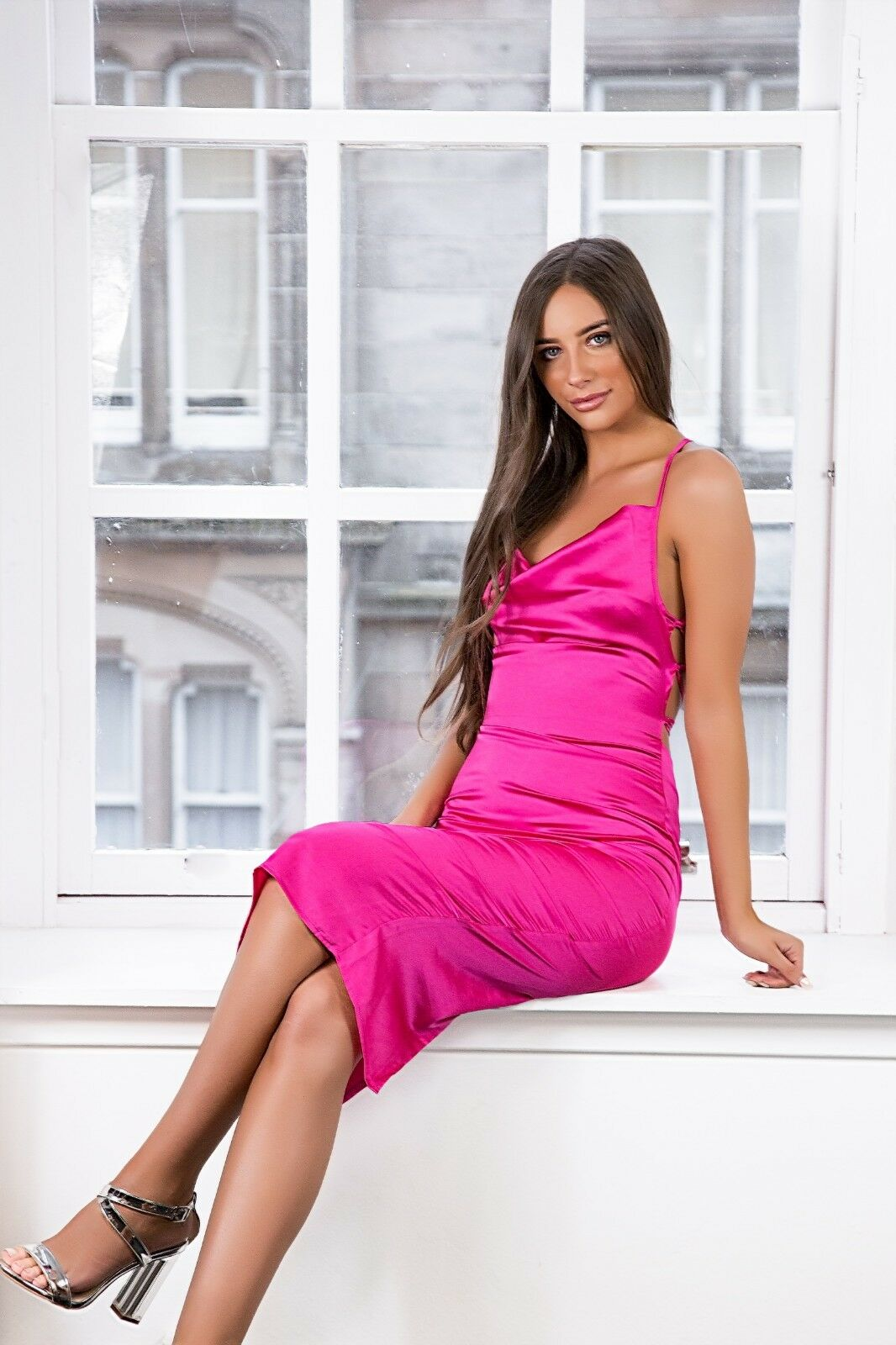 Womens/Ladies Hot Pink Satin Dress Cowl Neck Strappy Back Available Sizes 8-12