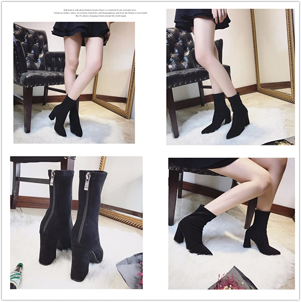 Women's Sexy Pointed Toe Block Heel Ankle Boots Stretchy Faux Suede Fashion Sock Boots Zipper