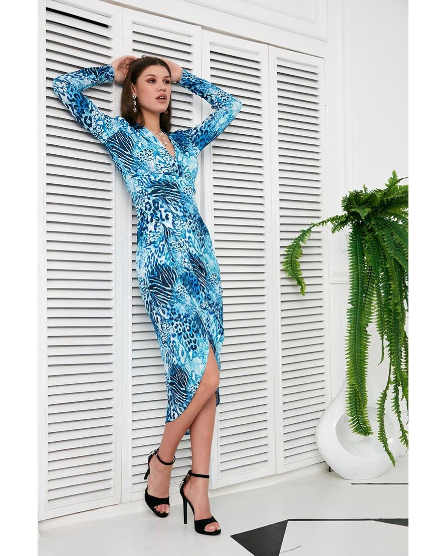 Wrap Midi Dress In Blue Leopard Print