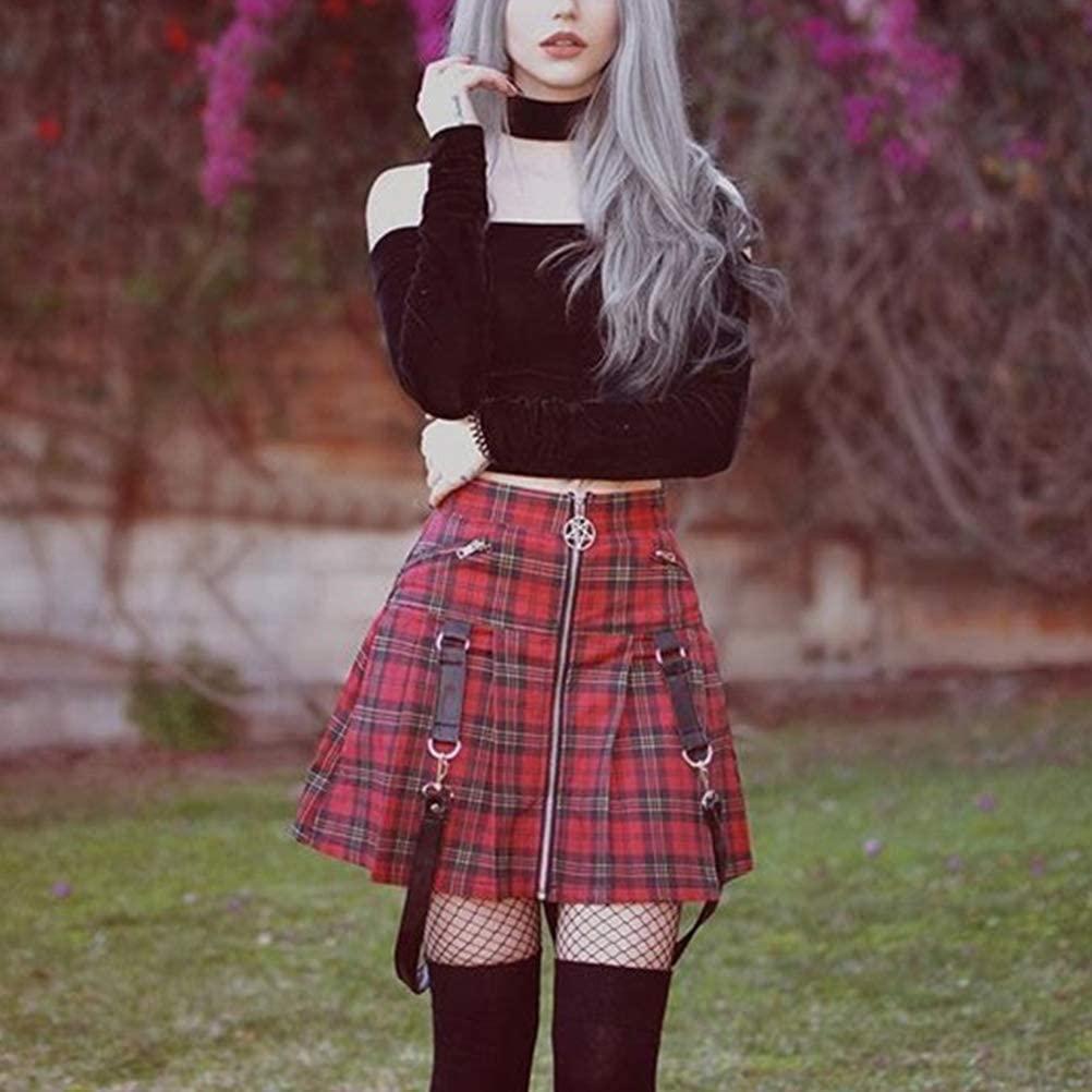 XIANGLIOOD Women's Plaid A-line High Waist Flare Pleated Short Mini Black Red Skirt