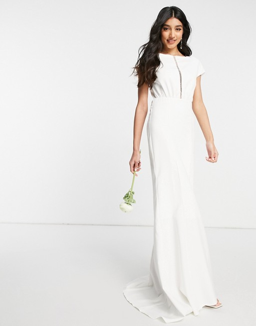 Y.A.S Bridal maxi dress with empire line waist and cut out front in white