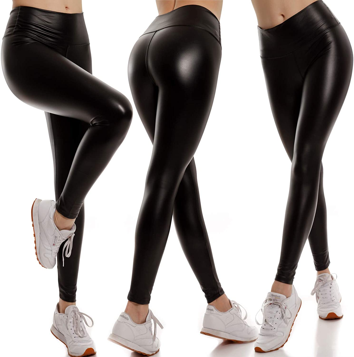 YC Fashion & Style Women's Faux Leather Leggings High Waist Shaper Jeggings Skinny Slim Fit Faux Leather Trousers with Elastic Waistband
