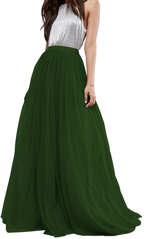 YULUOSHA Women Wedding Long Tulle Skirt Dress