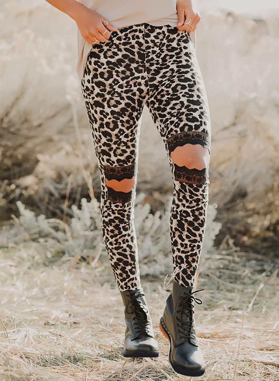Zereesa Womens High Waist Yoga Pants Hollow Out Cutout Ripped Sweatpants