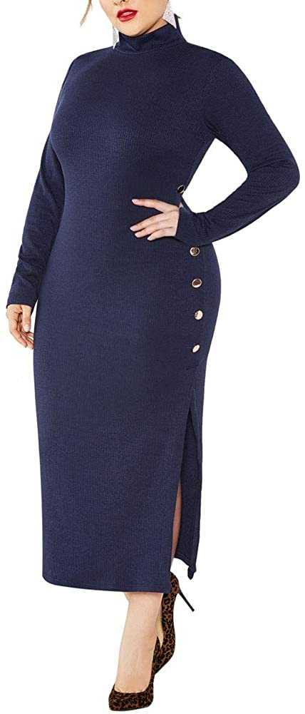 acelyn Women's Sweater Maxi Dress - Plus Size Long Sleeve Turtleneck Ribbed Knit Dresses Bodycon Prom Gown