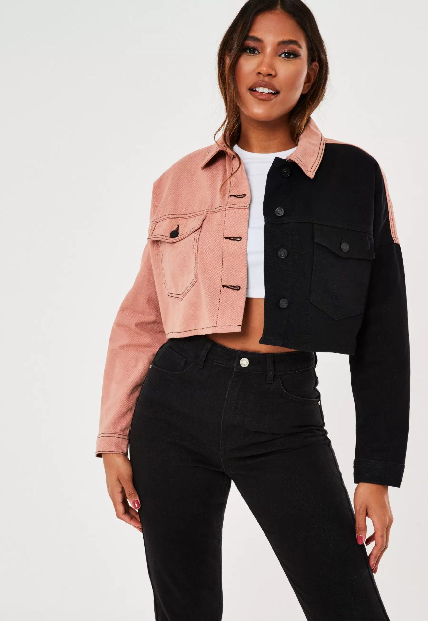 black contrast panel denim jacket