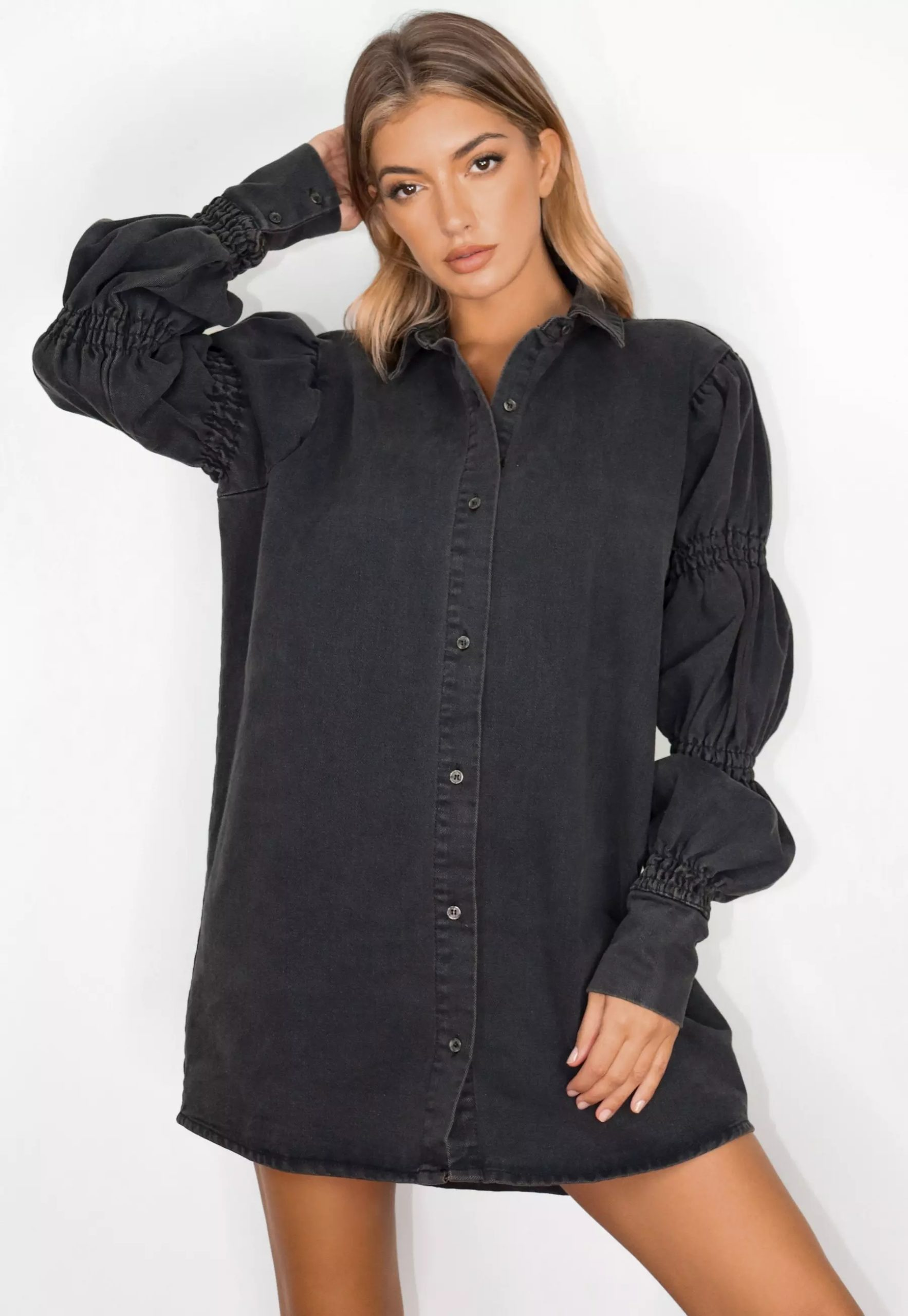 black elasticated puff sleeve denim shirt dress