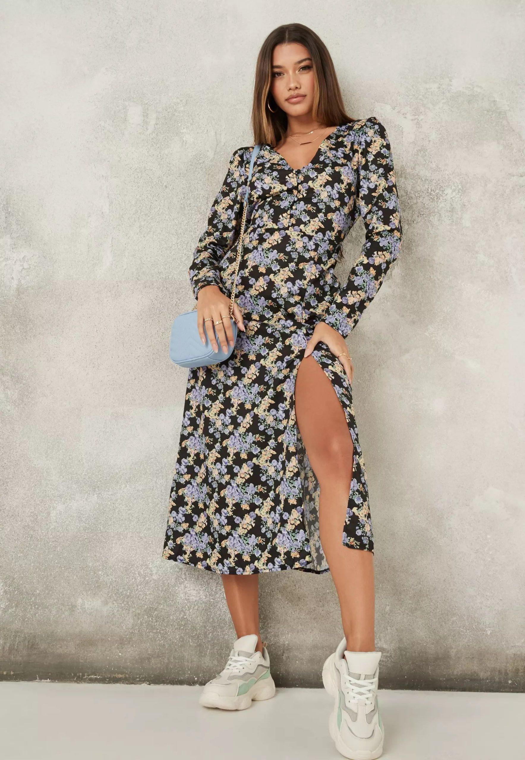 black floral half button midi tea dress