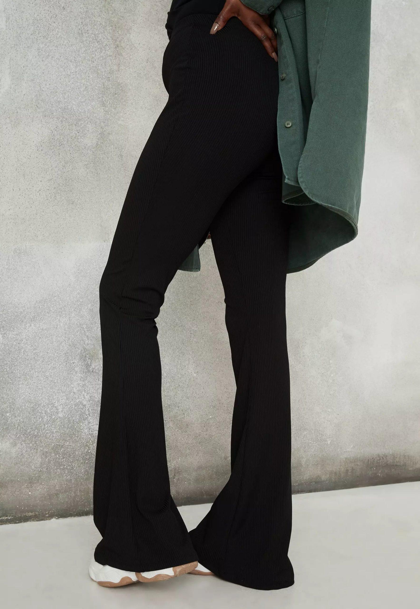 black rib flared trousers